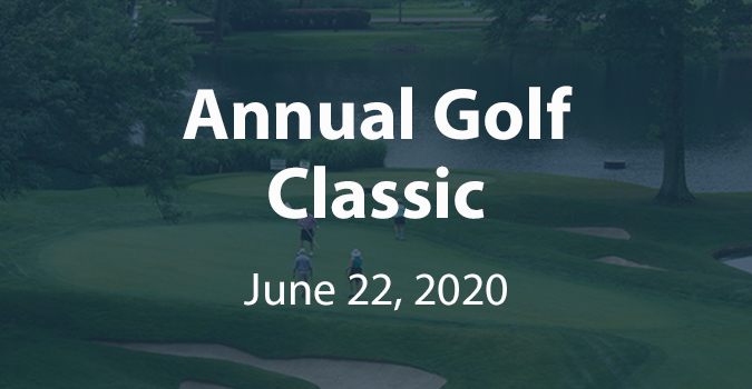 Clickable link to register for the golf outing, showing golfers from afar